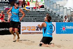 Jure Peter Bedrac and Leo Mohoric (OK beach volley Ptuj) at Beachmaster 2011 tournament for Slovenian BeachTour on July 22, 2011, in Ptuj, Slovenia. (Photo by Matic Klansek Velej / Sportida)