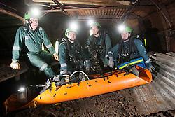 Operations manager Errol Parrish, Liam Parish, Kevin Watts and Aiden Henderson. Mine Rescue Service at Crossgates Training Centre, Crossgates, Fife..Pic © Michael Schofield.