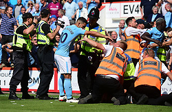 Sergio Aguero of Manchester City pushes a steward.  - Mandatory by-line: Alex James/JMP - 26/08/2017 - FOOTBALL - Vitality Stadium - Bournemouth, England - Bournemouth v Manchester City - Premier League