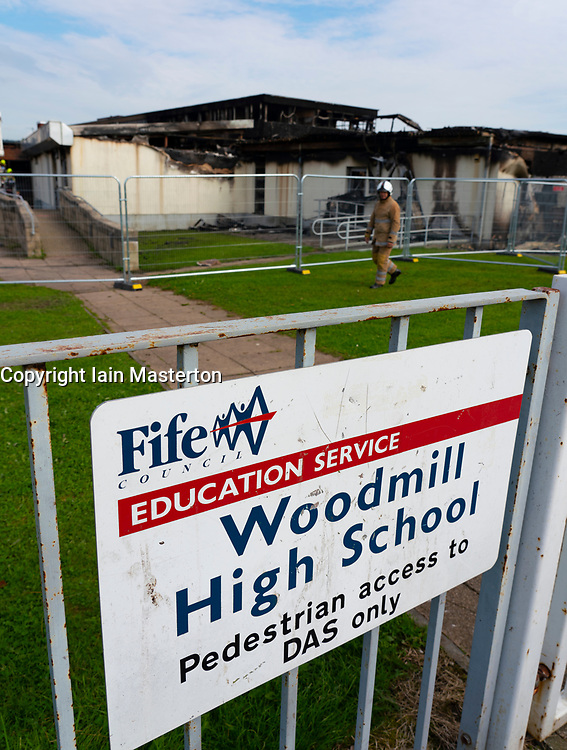 Dunfermline, Fife, Scotland, UK. 27 August 2019. Scottish Fire Service remain at Woodmill High School in Dunfermline following a large fire at the school on Sunday, Today it was announced that the school will remain closed in the short to medium term and Council leaders and teachers are currently discussing a range of options for the pupils. A 14-year-old male was arrested and charged yesterday (Monday) in connection with the incident, and appeared at Dunfermline Sheriff Court today. Iain Masterton/ Alamy Live News.