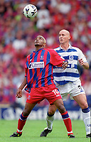 Clinton Morrison (Palace) and Karl Ready (QPR). Crystal Palace v Queens Park Rangers. Football League Division One, 20/08/2000. Credit: Colorsport / Matthew Impey.