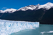 View of the Perito Moreno Glacier as it calves, Los Glaciares National Park, near El Calafate, Santa Cruz Province, Argentina.