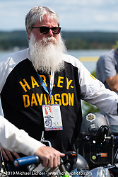 John Bartman lined up for the panorama portrait in Aune Osborne Park in Sault Sainte Marie, the site of the official start of the Cross Country Chase motorcycle endurance run from Sault Sainte Marie, MI to Key West, FL. (for vintage bikes from 1930-1948). Thursday, September 5, 2019. Photography ©2019 Michael Lichter.