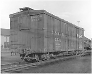 """Box car #3338 in yard at Alamosa, CO.<br /> D&RGW  Alamosa, CO  Taken by Polkinghorn, R. S. - 1958<br /> In book """"Narrow Gauge Pictorial, Vol. III: Gondolas, Boxcars and Flatcars of the D&RGW"""" page 127"""