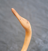 Heron bird carved out of an antelope's horn