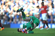 goalkeeper David De Gea of Manchester United makes a save. Barclays Premier league match, Chelsea v Manchester Utd at Stamford Bridge Stadium in London on Saturday 18th April 2015.<br /> pic by John Patrick Fletcher, Andrew Orchard sports photography.