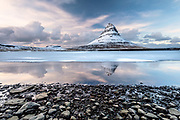 Kirkjufell near Grundarfjörður in the wintertime.