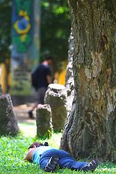 Um manifestante repousa em uma pracinha durante o encerramento do Fórum Social Mundial 2010, em 29 de janeiro de 2010, em Porto Alegre, Brasil. O Fórum terminou com discussões sobre o desenvolvimento sustentável, direitos civis e as questões ambientais. FOTO: Jefferson Bernardes/Preview.com