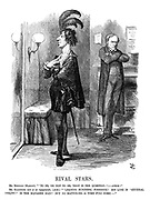 """Rival Stars. Mr. Bendizzy (Hamlet). """"'To be, or not to be, that is the question:' - ahem!"""" Mr. Gladstone (out of an engagement). [Aside] """"'Leading business,' forsooth! His line is 'general utility!' Is the manager mad? But no matter-r-r - a time WILL come-""""."""