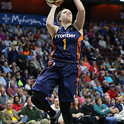 UNCASVILLE, CONNECTICUT- JUNE 5:  Rachel Banham #1 of the Connecticut Sun shoots for two during the Indiana Fever Vs Connecticut Sun, WNBA regular season game at Mohegan Sun Arena on June 3, 2016 in Uncasville, Connecticut. (Photo by Tim Clayton/Corbis via Getty Images)
