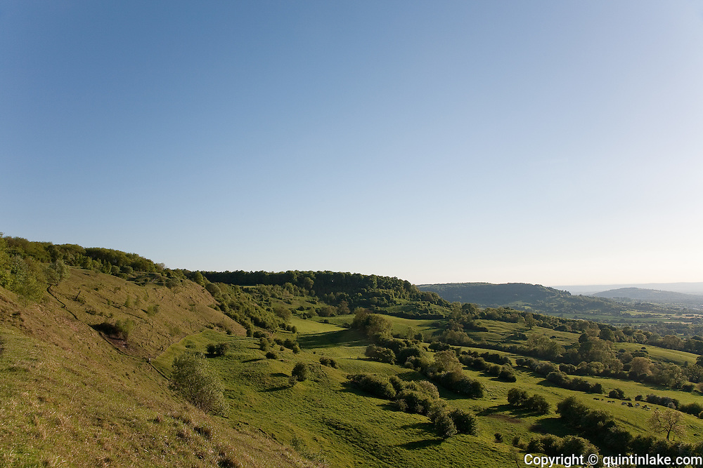 Birdlip Hill, Cooper's Hill & Nut hill (L to R) seen from Barrow Wake on the Cotswold Escarpment on the Cotswold Way