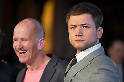 """Eddie """"The Eagle"""" Edwards and Taron Egerton attends the European premiere for """"Eddie the Eagle at Odeon Leicester Square in London, 17.03.2016. EXPA Pictures © 2016, PhotoCredit: EXPA/ Photoshot/ Euan Cherry<br /> <br /> *****ATTENTION - for AUT, SLO, CRO, SRB, BIH, MAZ, SUI only*****"""