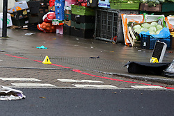 © Licensed to London News Pictures. 11/12/2020. London, UK. Evidence marker within the crime scene in Stamford Hill, north London following a car which mounted on pavement and plough into pedestrians. Five people have been rushed to the hospital. Photo credit: Dinendra Haria/LNP