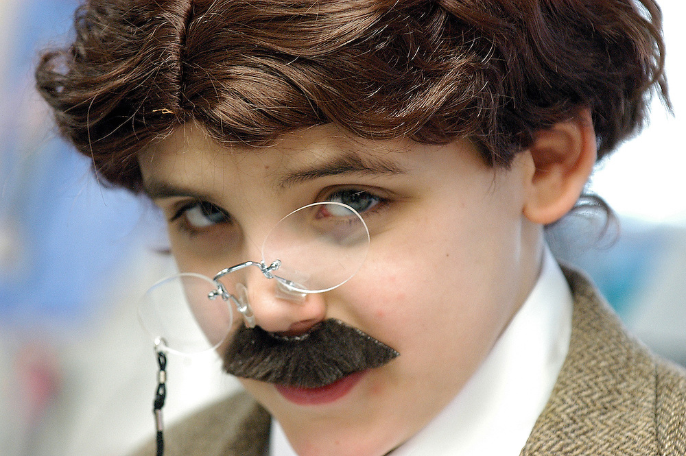 Gloucester: Ryan McCarthy, 9, dressed as Theodore Roosevelt and spoke about the president during a presentation by special education students at West Parish Elementary Tuesday morning. The children, all dressed as presidents or other historical figures, spoke about the presidents of Mount Rushmore..Photo by Mike Dean/Gloucester Daily Times Tuesday, February 12, 2008