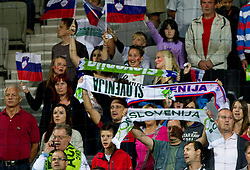 Fans of Slovenia during friendly football match between National teams of Slovenia and Belgium, on August 10, 2011, in SRC Stozice, Ljubljana, Slovenia. (Photo by Vid Ponikvar / Sportida)