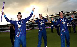 Gloucestershire's James Fuller, Gloucestershire's Chris Dent and Gloucestershire's Gareth Roderick celebrate - Mandatory byline: Robbie Stephenson/JMP - 07966 386802 - 19/09/2015 - Cricket - Lord's Cricket Ground - London, England - Gloucestershire CCC v Surrey CCC - Royal London One-Day Cup Final