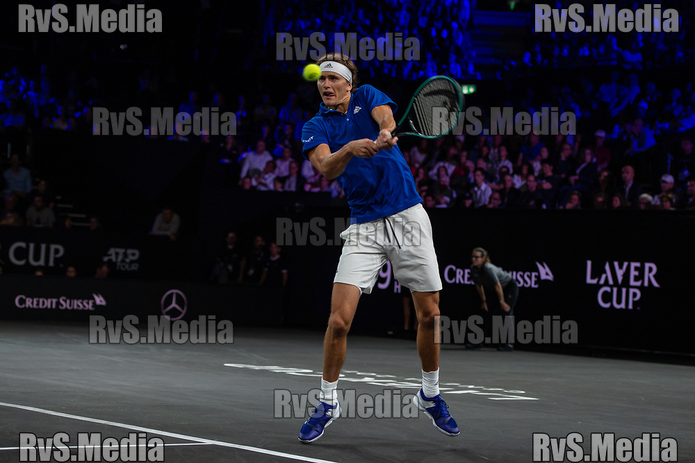 GENEVA, SWITZERLAND - SEPTEMBER 20: Alexander Zverev of Team Europe in action during Day 1 of the Laver Cup 2019 at Palexpo on September 20, 2019 in Geneva, Switzerland. The Laver Cup will see six players from the rest of the World competing against their counterparts from Europe. Team World is captained by John McEnroe and Team Europe is captained by Bjorn Borg. The tournament runs from September 20-22. (Photo by Monika Majer/RvS.Media)
