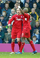 Photo: Dave Linney.<br />West Bromwich Albion v Liverpool. The Barclays Premiership. 01/04/2006.Livepool's Cisse(R) celebrates with  Harry Kewell after making it 2-0