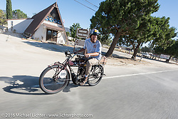 Alex Trepanier of California riding his single-cylinder single-speed 1913 Indian class-1 bike on the last day of the Motorcycle Cannonball Race of the Century. Stage-15 ride from Palm Desert, CA to Carlsbad, CA. USA. Sunday September 25, 2016. Photography ©2016 Michael Lichter.