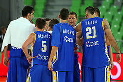 Team Bosnia at friendly match between Macedonia and BIH for Adecco Cup 2011 as part of exhibition games before European Championship Lithuania on August 6, 2011, in SRC Stozice, Ljubljana, Slovenia. (Photo by Urban Urbanc / Sportida)