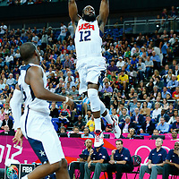 08 August 2012: USA James Harden goes for the alley hoop dunk during 119-86 Team USA victory over Team Australia, during the men's basketball quarter-finals, at the 02 Arena, in London, Great Britain.
