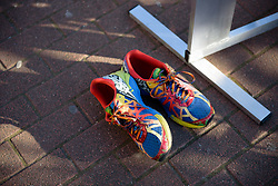 Colourful shoes at Le Samyn des Dames 2018 - a 103 km road race on February 27, 2018, from Quaregnon to Dour, Belgium. (Photo by Sean Robinson/Velofocus.com)