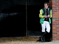 Ben Poste waits for his ride at Worcester Racecourse, Worcester. PRESS ASSOCIATION Photo. Picture date: Monday September 17, 2018. See PA story RACING Worcester. Photo credit should read: David Davies/PA Wire.