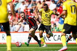 Marc Pugh of AFC Bournemouth under pressure from Jordan Ayew of Aston Villa - Mandatory by-line: Jason Brown/JMP - Mobile 07966 386802 08/08/2015 - FOOTBALL - Bournemouth, Vitality Stadium - AFC Bournemouth v Aston Villa - Barclays Premier League - Season opener
