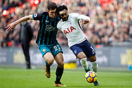 Pierre-Emile Hojbjerg of Southampton (L) battles with Danny Rose of Tottenham Hotspur (R).Premier league match, Tottenham Hotspur v Southampton at Wembley Stadium in London on Boxing Day Tuesday 26th December 2017.<br /> pic by Steffan Bowen, Andrew Orchard sports photography.