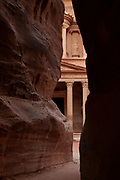 "One of the ""Seven Wonders of the World"" Al-Khazneh or The Treasury seen through the siq, Petra, Jordan"