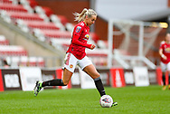 Manchester United defender Millie Turner (21) controls the ball during the FA Women's Super League match between Manchester United Women and Reading LFC at Leigh Sports Village, Leigh, United Kingdom on 7 February 2021.
