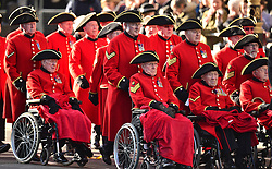Chelsea Pensioner arrive before the annual Remembrance Sunday Service at the Cenotaph memorial in Whitehall, central London, held in tribute for members of the armed forces who have died in major conflicts.
