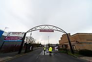 General view outside of The Sands Venue Stadium, welcome sign, gates, during the EFL Sky Bet League 2 match between Scunthorpe United and Grimsby Town FC at the Sands Venue Stadium, Scunthorpe, England on 23 January 2021.