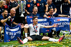 Free to use courtesy of Sky Bet. Goalscorer Tom Cairney celebrates with the backroom staff as Fulham celebrate winning the game 0-1 to win the Sky Bet Championship Play-Off Final and secure Promotion to the Premier League - Rogan/JMP - 26/05/2018 - FOOTBALL - Wembley Stadium - London, England - Aston Villa v Fulham - Sky Bet Championship Play-Off Final.