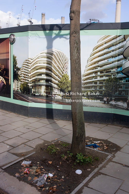 Unaffordable housing development hoarding in Battersea, south London.