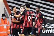 Goal 1-0 - Junior Stanislas (19) of AFC Bournemouth celebrates scoring during the EFL Sky Bet Championship match between Bournemouth and Nottingham Forest at the Vitality Stadium, Bournemouth, England on 24 November 2020.
