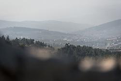 16 February 2020, Amman, Jordan: Morning light over mountains and valleys near Jerash city.