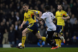 Sunderland's midfielder Lee Cattermole and Tottenham's defender Danny Rose compete for the ball  - Photo mandatory by-line: Mitchell Gunn/JMP - Tel: Mobile: 07966 386802 07/04/2014 - SPORT - FOOTBALL - White Hart Lane - London - Tottenham Hotspur v Sunderland - Premier League
