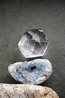 """Celestite, also called Celestine, is a strontium sulfate mineral first reported in the 1790's. Its name, derived from the Latin caelestis, means """"celestial"""" or """"heavenly,"""" and refers to the sky-blue color commonly exhibited by its crystals."""