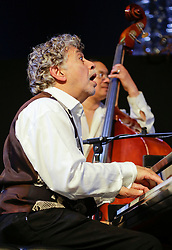 30 April 2015. New Orleans, Louisiana.<br /> The New Orleans Jazz and Heritage Festival. <br /> Monty Alexander; Harlem-Kingston Express. <br /> Photo; Charlie Varley/varleypix.com
