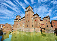 Castello Estense or Castello di San Michele, the 16th century Este Marquis fortification, Farrara, Northern Italy ..<br /> <br /> Visit our ITALY PHOTO COLLECTION for more   photos of Italy to download or buy as prints https://funkystock.photoshelter.com/gallery-collection/2b-Pictures-Images-of-Italy-Photos-of-Italian-Historic-Landmark-Sites/C0000qxA2zGFjd_k<br /> <br /> If you prefer to buy from our ALAMY PHOTO LIBRARY  Collection visit : https://www.alamy.com/portfolio/paul-williams-funkystock/ferrara.html .