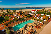 View from balcony, Hotel del Coronado (a beachfront luxury hotel), Coronado Island (San Diego), California USA.