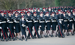 © London News Pictures. 13/04/2012. Crowthorne, UK.  Officer cadets, including 19 overseas cadets from 13 countries Parade at The Royal Military Academy Sandhurst in Berkshire on April 13, 2012 after being given their commissions to mark the end of their year's training. The parade is the first in a series of events marking 2012 as the 200th anniversary of the Royal Military Academy Sandhurst. Photo credit :  Ben Cawthra/LNP