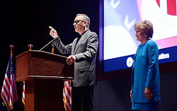 """Actor and Campaign Chair Tom Hanks speaks as Elizabeth Dole Foundation Founder and President Elizabeth Dole looks on during the launch of """"Hidden Heroes"""" campaign at the Capitol September 27, 2016 in Washington, DC. The Hidden Heroes campaign has been created to generate stronger support for America's 5.5 million military and veteran caregivers. Photo by Olivier Douliery/Abaca"""