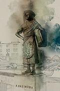 Digitally enhanced image of a Bronze statue of a female salt worker (Salineira) overlooking the canal, Aveiro, Portugal