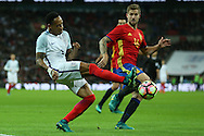 Nathaniel Clyne of England crosses the ball. England v Spain, Football international friendly at Wembley Stadium in London on Tuesday 15th November 2016.<br /> pic by John Patrick Fletcher, Andrew Orchard sports photography.