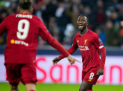 SALZBURG, AUSTRIA - Tuesday, December 10, 2019: Liverpool's Naby Keita celebrates scoring the first goal during the final UEFA Champions League Group E match between FC Salzburg and Liverpool FC at the Red Bull Arena. (Pic by David Rawcliffe/Propaganda)