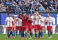 Fotball<br /> Tyskland<br /> 25.04.2015<br /> Foto: Witters/Digitalsport<br /> NORWAY ONLY<br /> <br /> Schlussjubel v.l. Gojko Kacar, Rafael van der Vaart, Ivo Ilicevic, Marcell Jansen, Heiko Westermann (HSV)<br /> Fussball Bundesliga, Hamburger SV - FC Augsburg 3:2