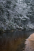Slow falling snow and dark waters of river Amata with snow covered forest, Vidzeme, Latvia Ⓒ Davis Ulands | davisulands.com