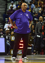 July 6, 2018 - Oakland, California, United States - Ghost Ballers Coach George Gervin on the sidelines against the Ball Hogs during Week 3 of the BIG3 3-on-3 basketball league at Oracle Arena. (Credit Image: © Debby Wong via ZUMA Wire)